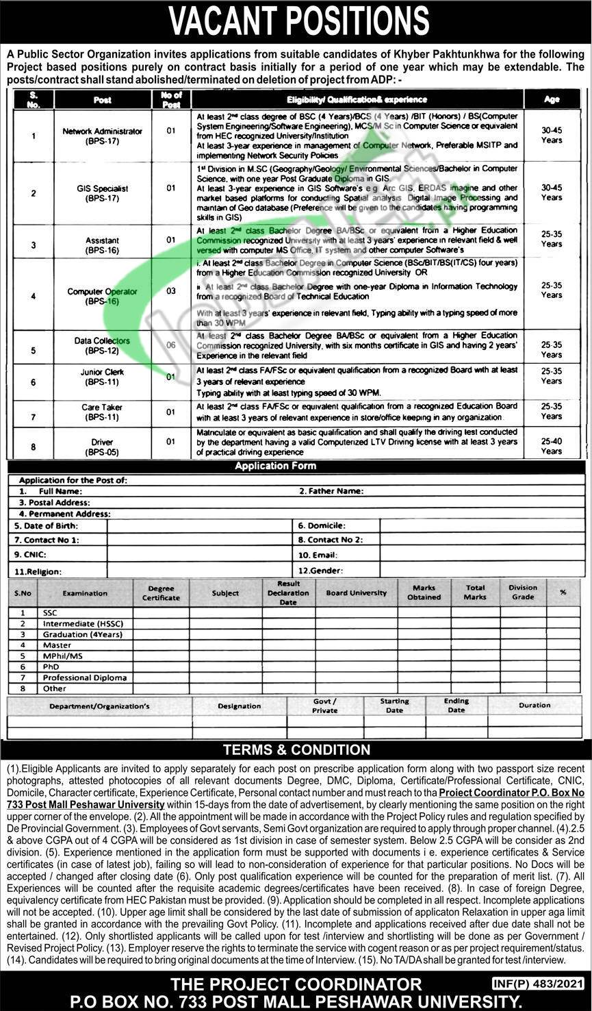 PO box 733 Peshawar Jobs