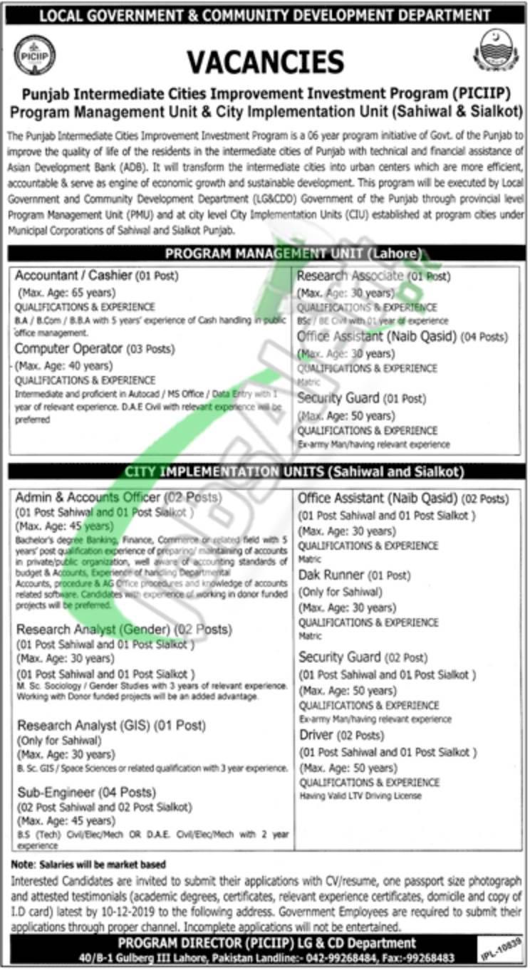 Punjab Local Government Jobs 2019