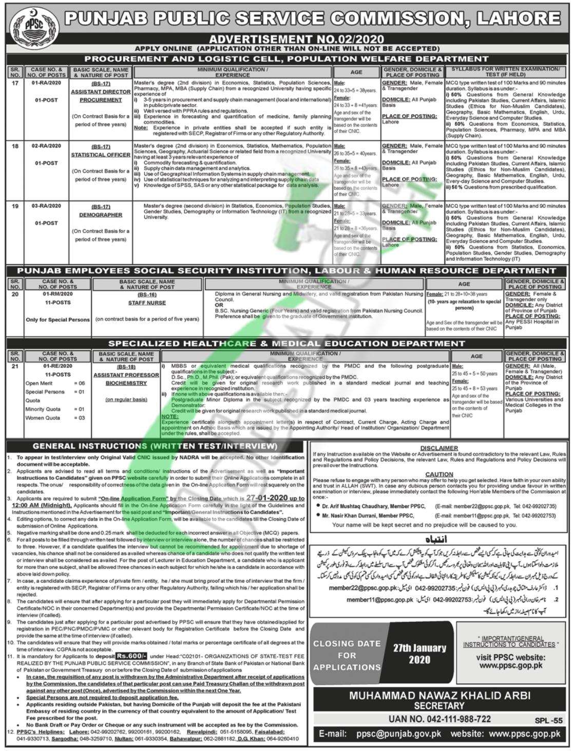 Punjab Public Service Commission Jobs 2020