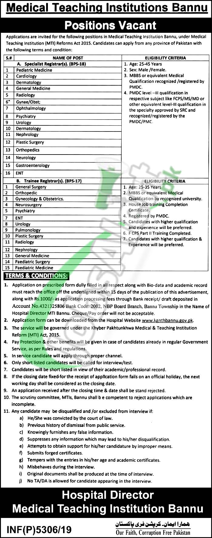 Medical Teaching Institution Bannu Positions Vacant