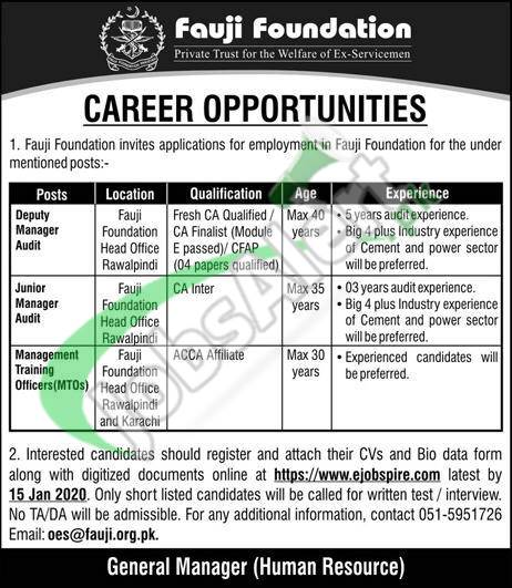 Career Opportunities Fauji Foundation