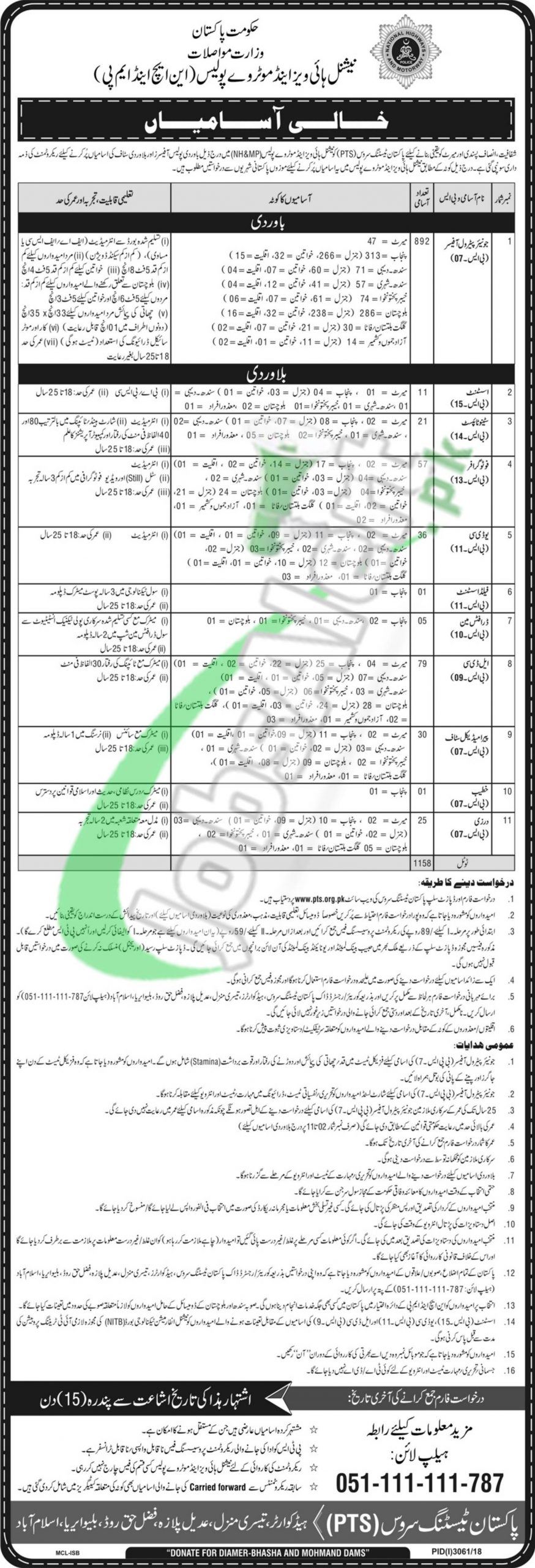 National Highway and Motorway Police Job Opportunities