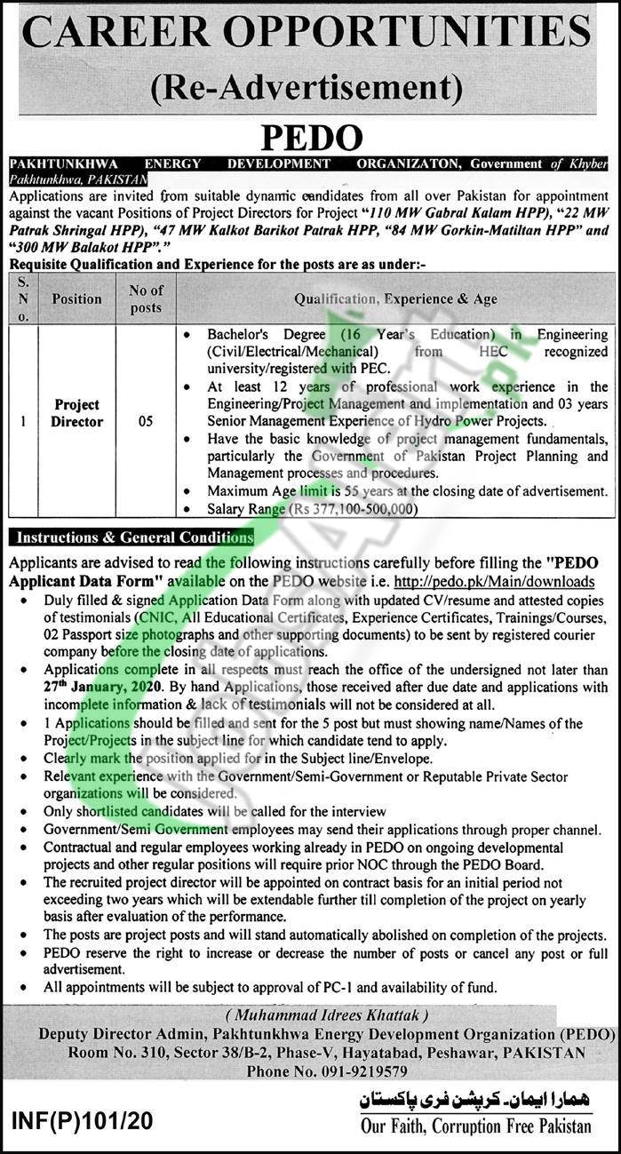 Career Opportunities Pakhtunkhwa Energy Development Organization
