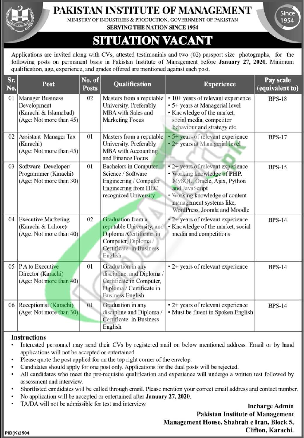 Pakistan Institute of Management Situation Vacant