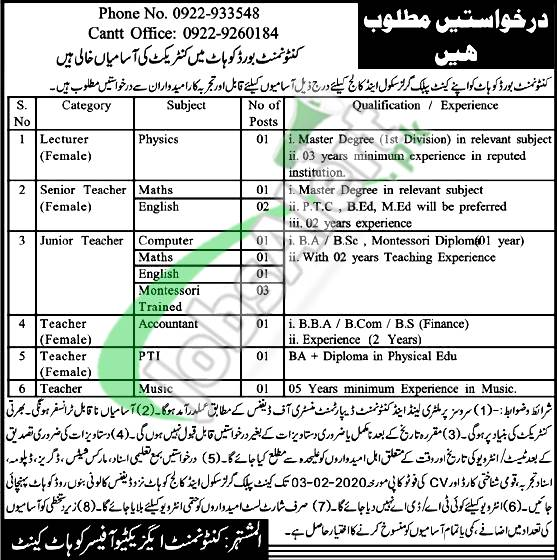 Cantonment Board Kohat Job Opportunities