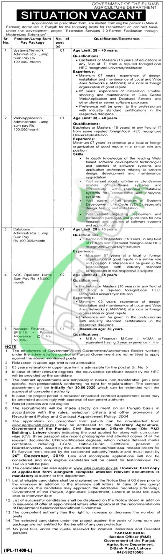 Punjab Agriculture Department Lahore Jobs