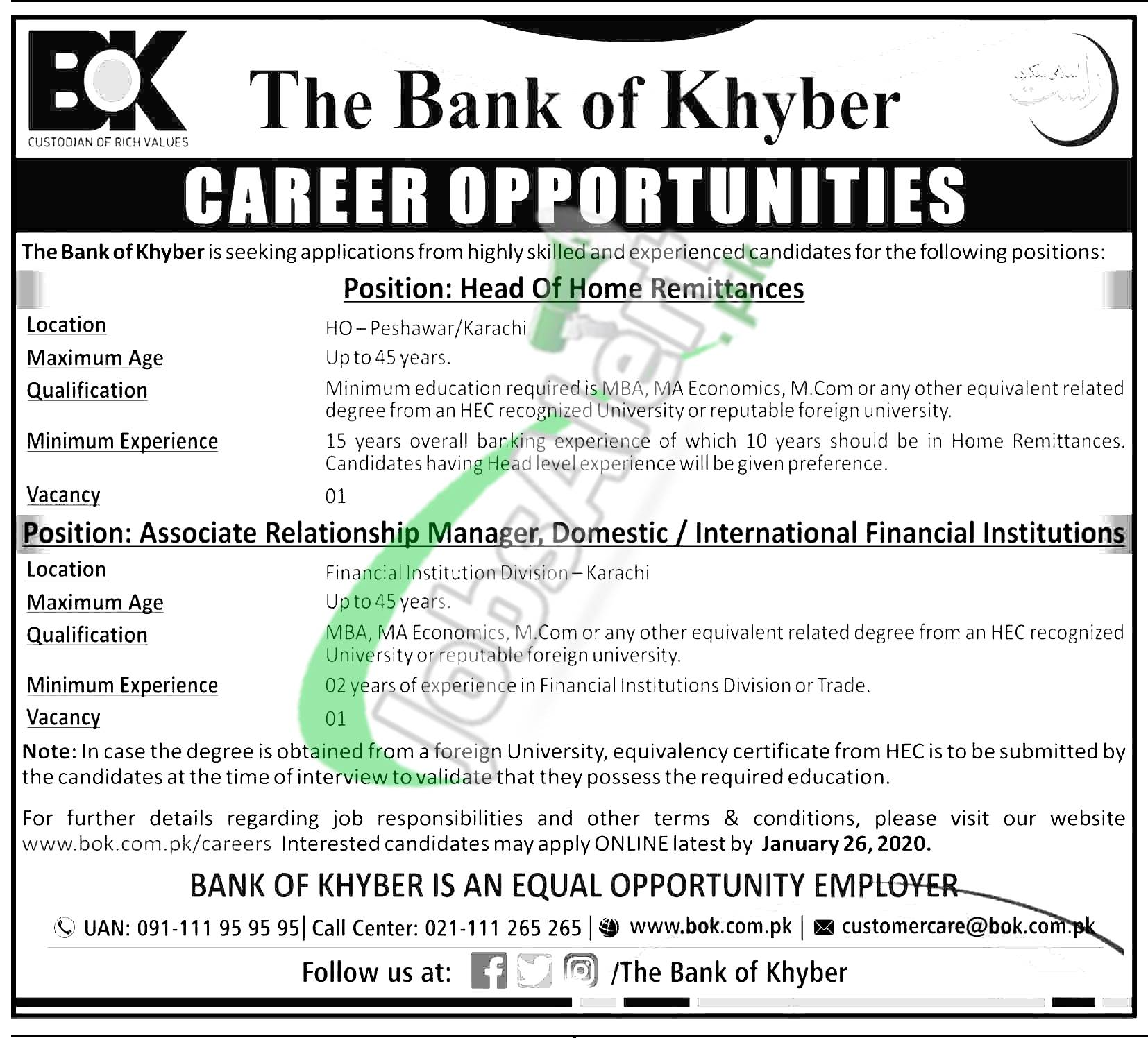 The Bank of Khyber Career Opportunities