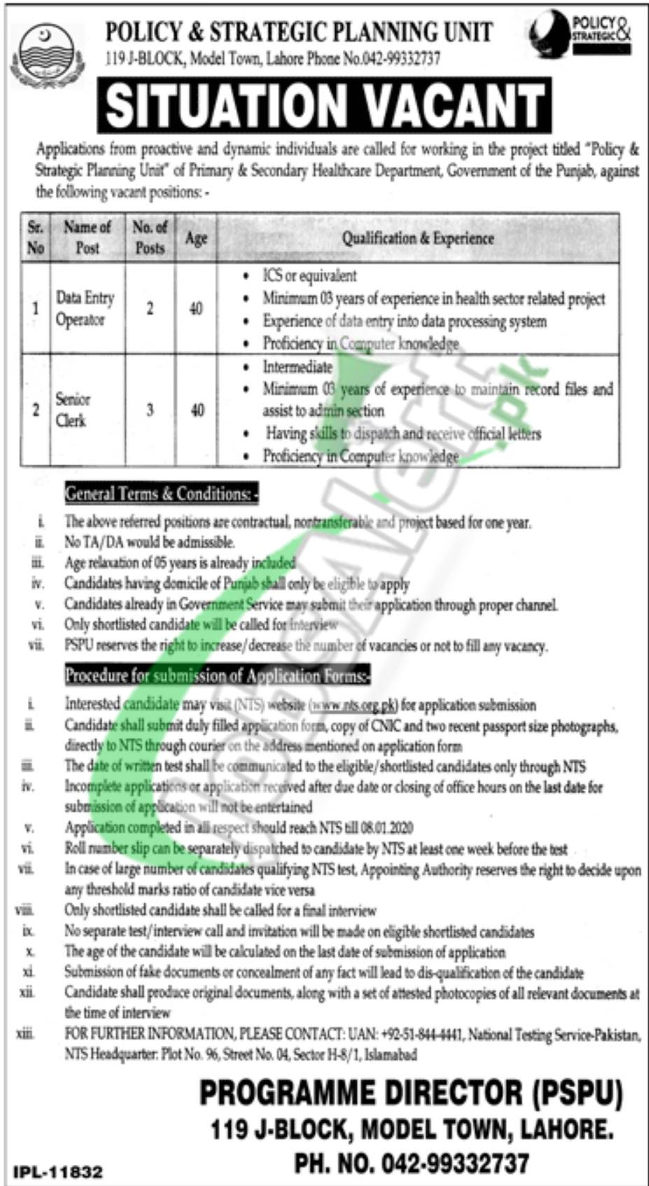 Situation Vacant Primary & Secondary Healthcare Department Punjab