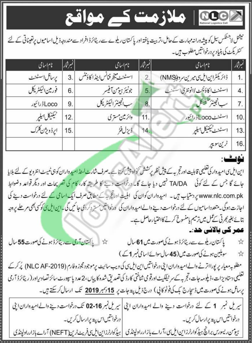 National Logistic Cell Jobs 2019 NLC