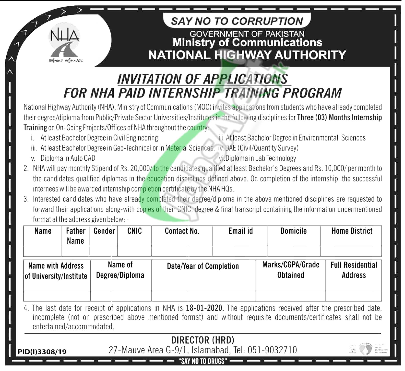 Government of Pakistan Ministry of Communications National Highway Authority