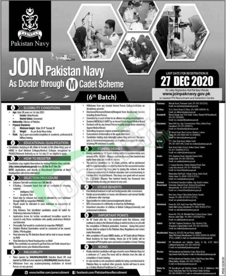 M Cadet in Pakistan Navy 2020