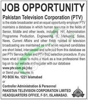 Job Opportunity Pakistan Television Corporation (PTV)