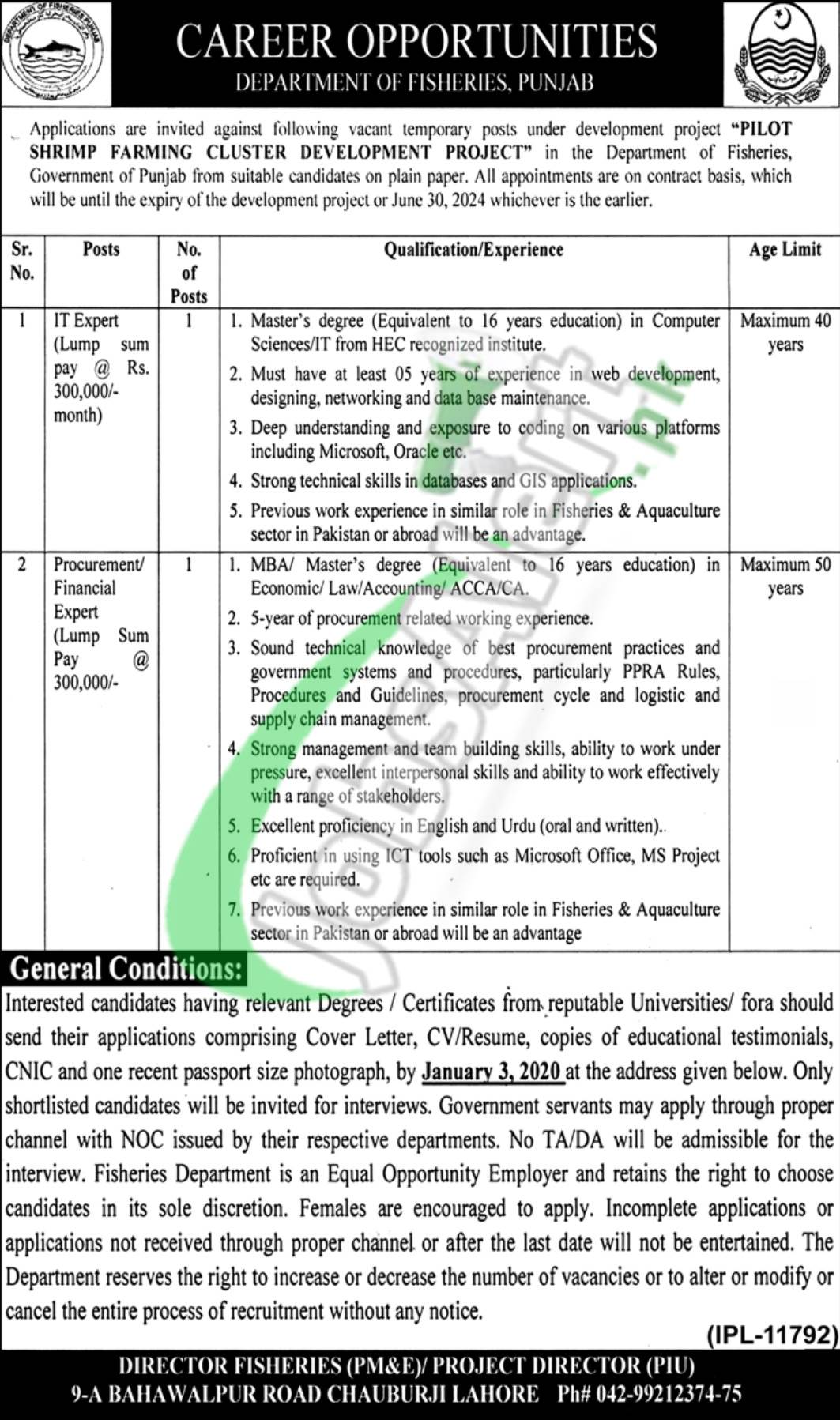 Career Opportunities Department of Fisheries Punajb