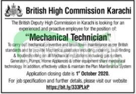 British High Commission Karachi Jobs