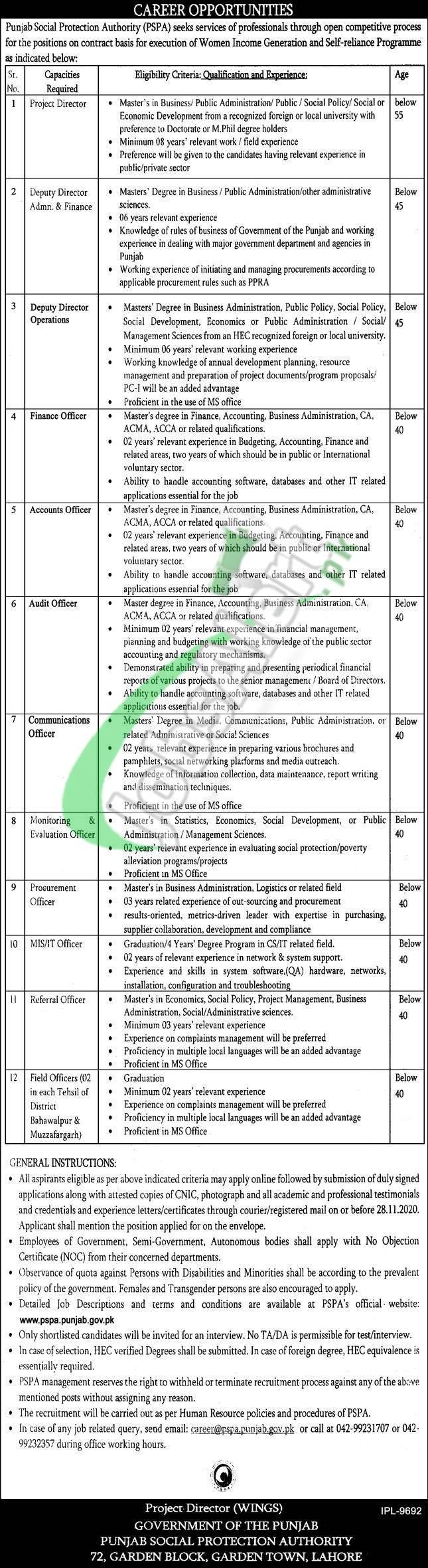 Punjab Social Protection Authority Jobs