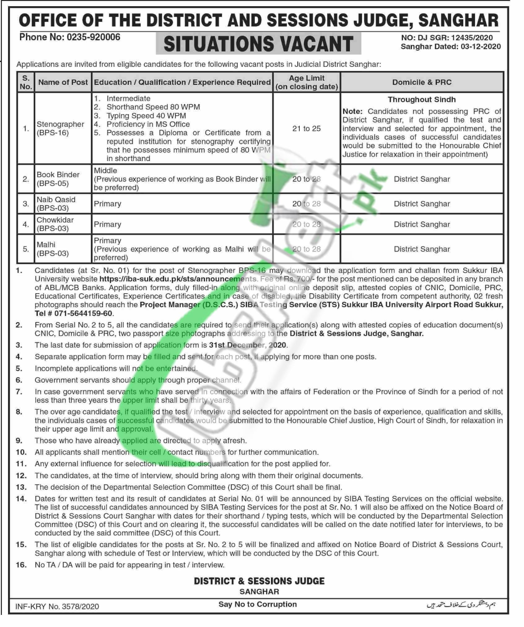 District & Session Court Sanghar Jobs