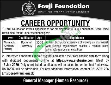 Fauji Foundation Career Opportunity