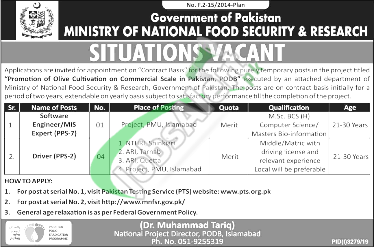 Government of Pakistan Ministry of National Food Security and Research