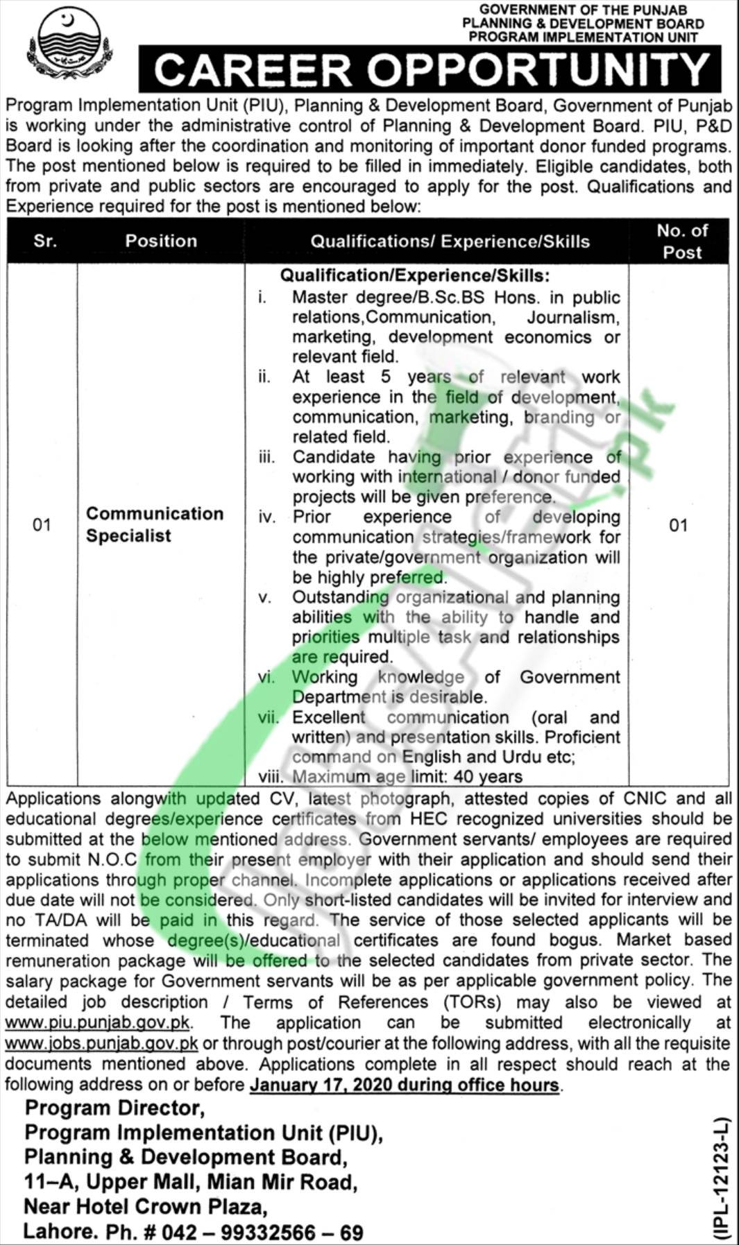 Career Opportunity Planning and Development Department Punjab