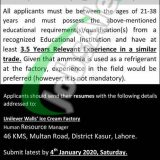 Unilever Walls Ice Cream Factory Lahore Jobs