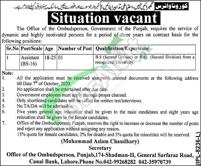 Provincial Mohtasib Punjab Jobs