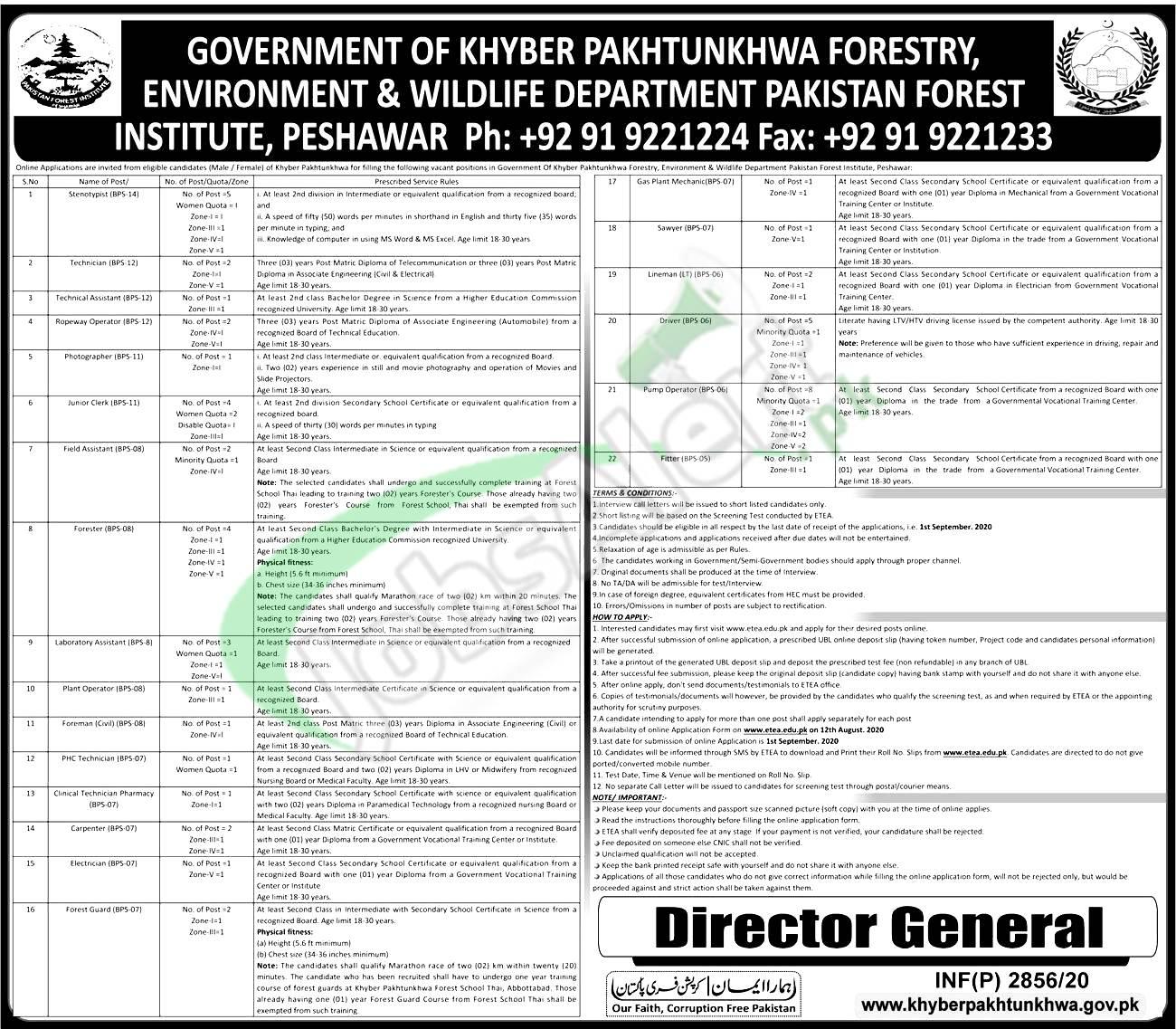 Wildlife Department KPK Jobs