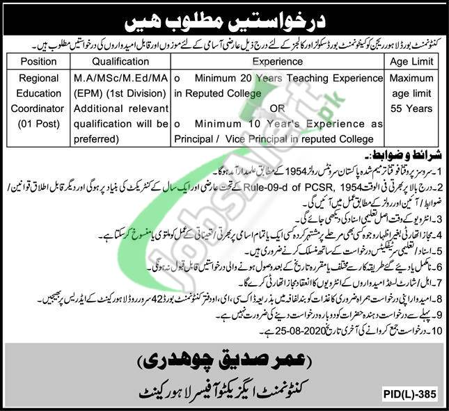 Lahore Cantonment Board Jobs 2020