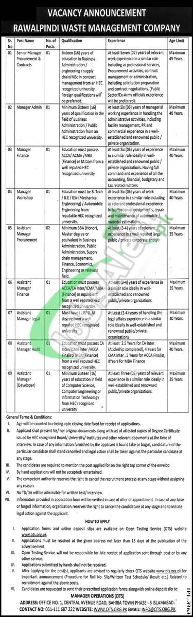 Rawalpindi Waste Management Company Jobs
