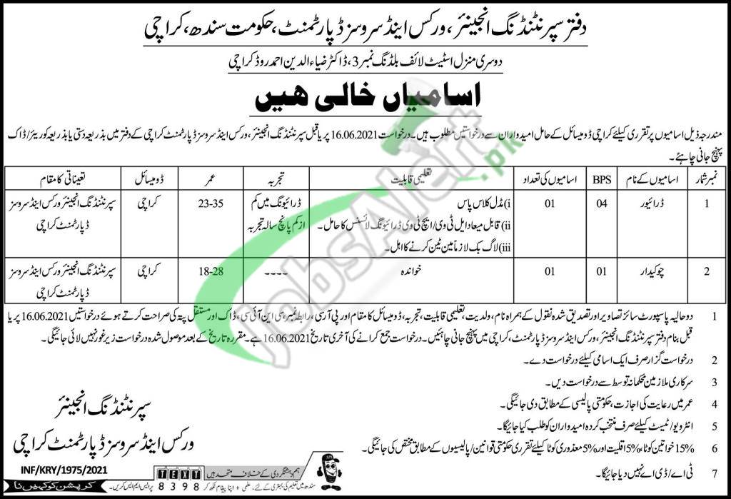 Works and Services Department Karachi Jobs 2021