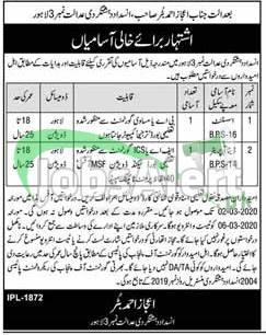 Anti Terrorism Court Lahore Jobs