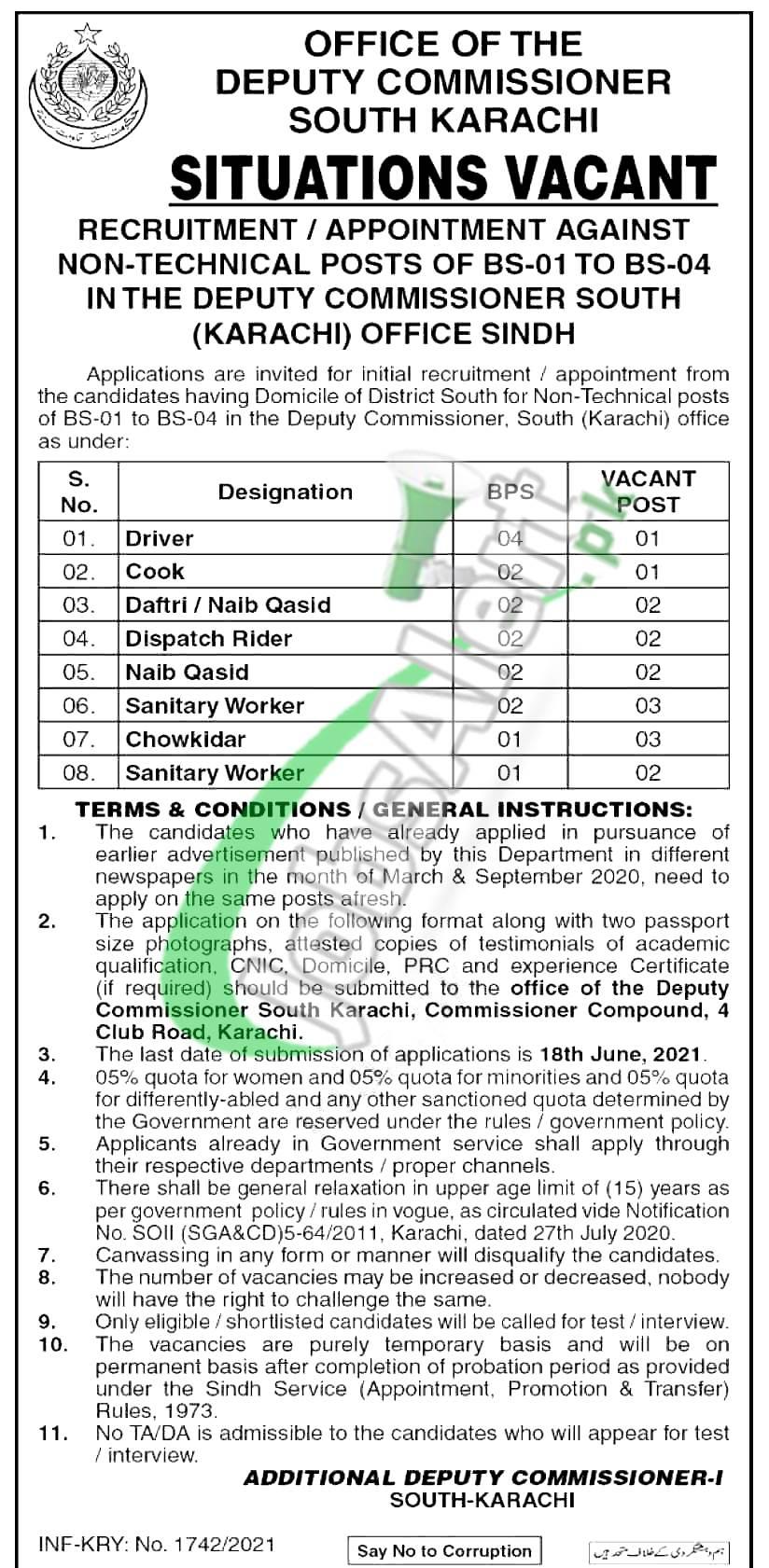Deputy Commissioner Office South Karachi Jobs