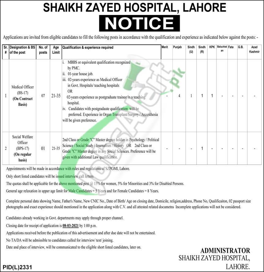 Shaikh Zayed Hospital Lahore Jobs