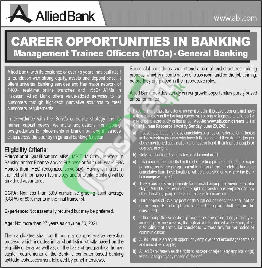 Allied Bank Management Trainee 2021
