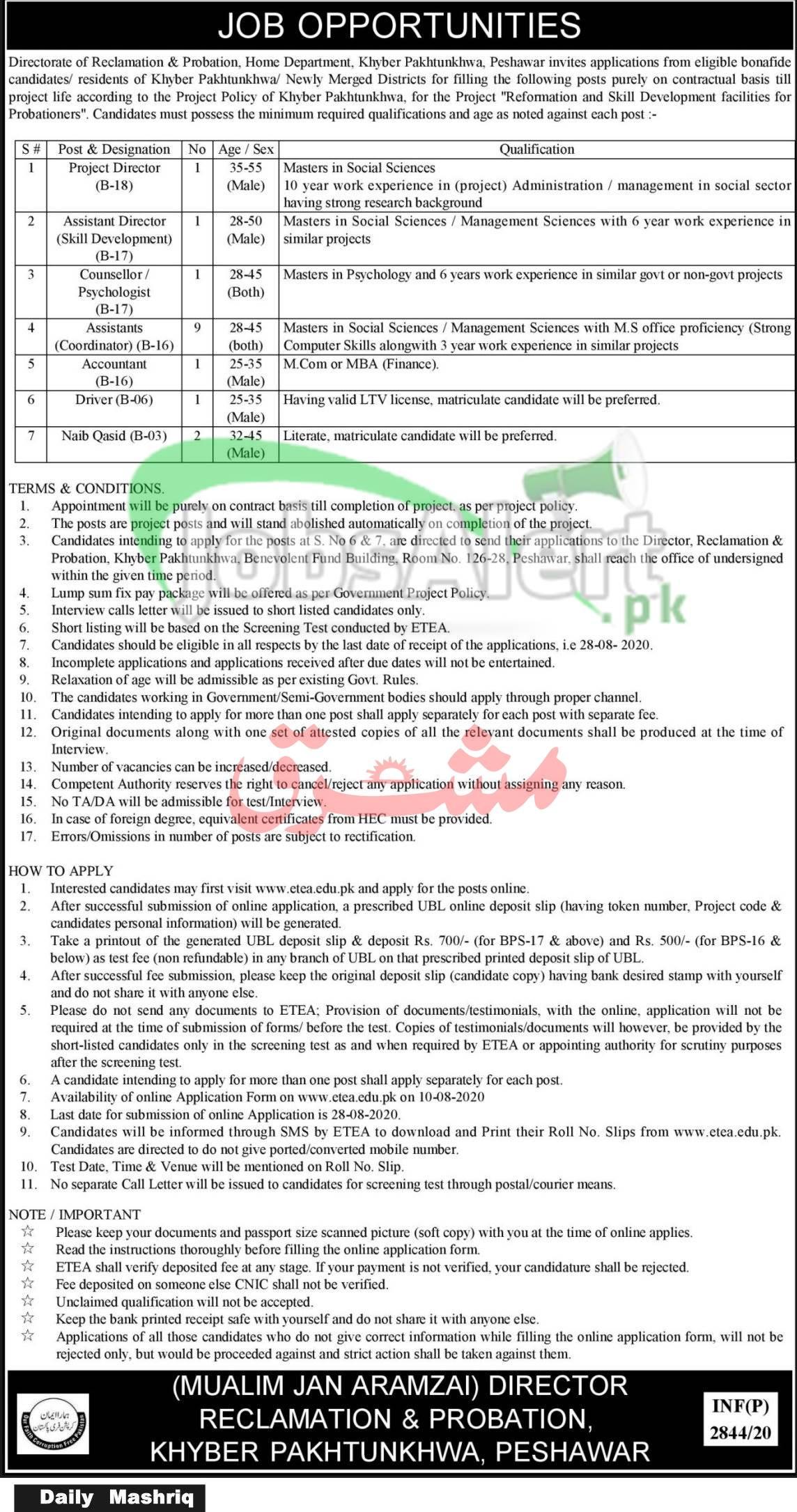 ETEA Home Department KPK Jobs