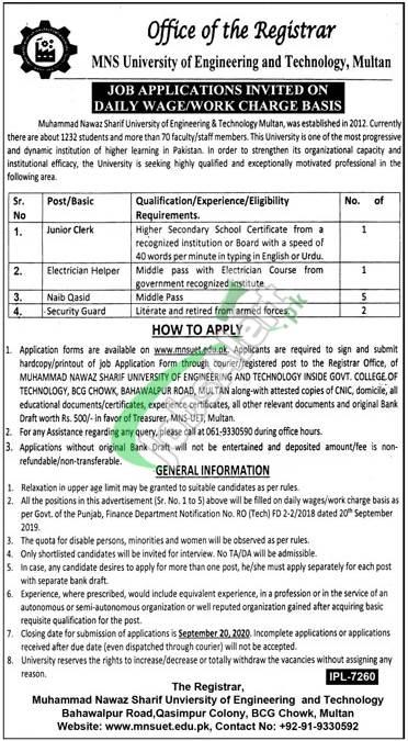 Muhammad Nawaz Sharif University of Engineering & Technology Multan Jobs