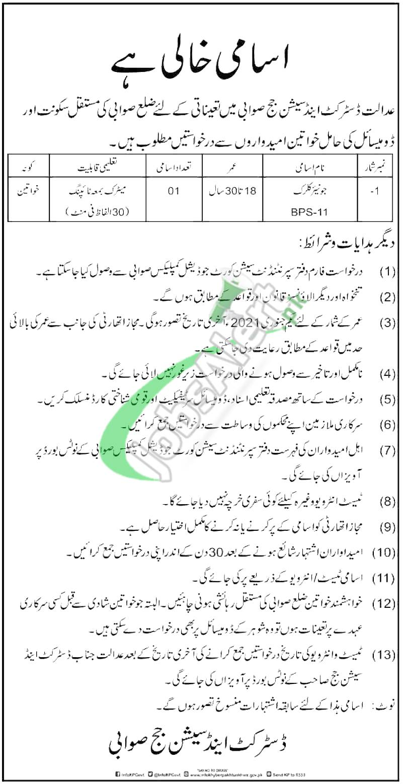 District and Session Court Swabi Jobs 2021