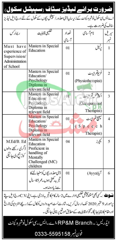 Pakistan Army ASC School Nowshera Jobs