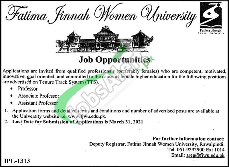 Fatima Jinnah Women University Jobs