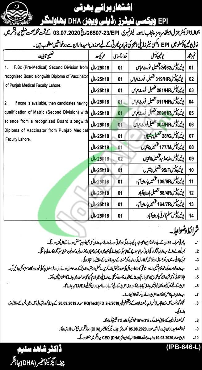 District Health Authority Bahawalnagar Jobs