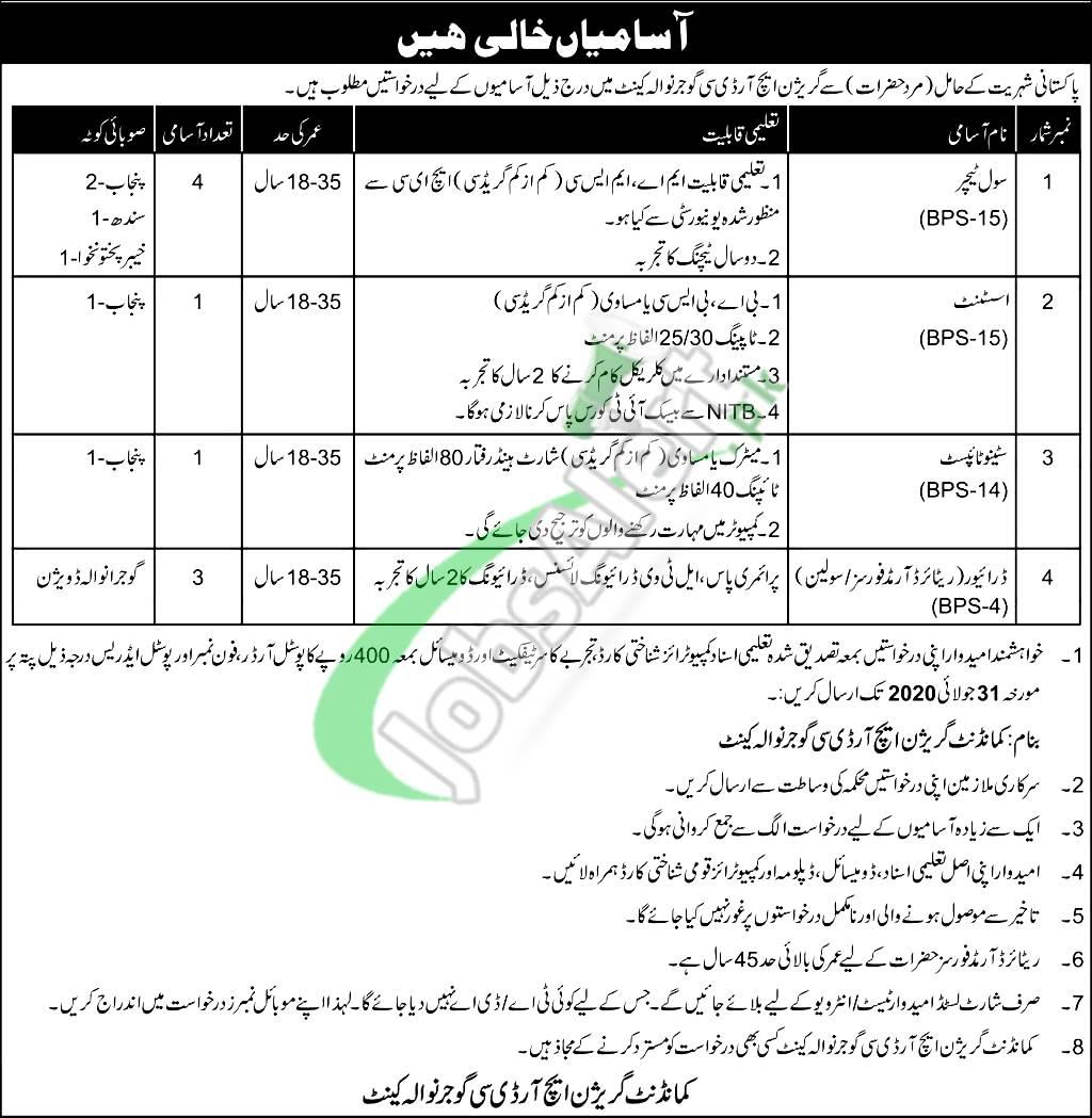 Garrison HRDC Gujranwala Jobs