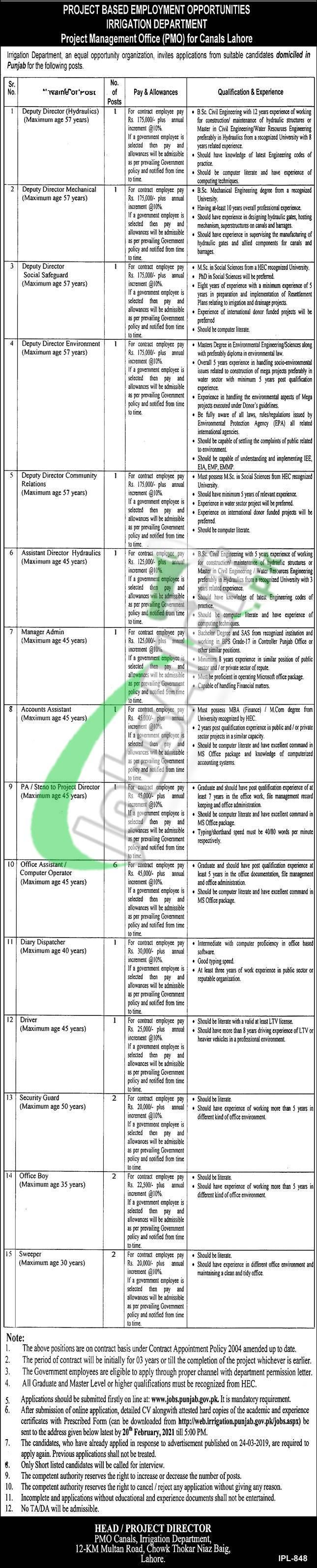 Punjab Irrigation Department Lahore Jobs