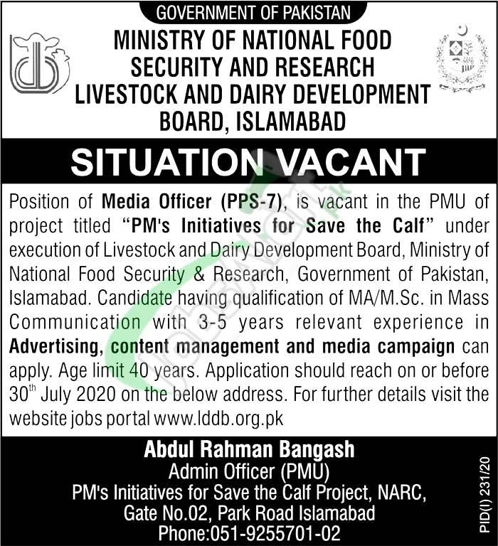 Livestock and Dairy Development Board Islamabad Jobs