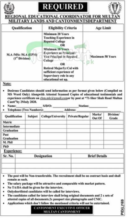 Multan Military Lands and Cantonment Department Jobs