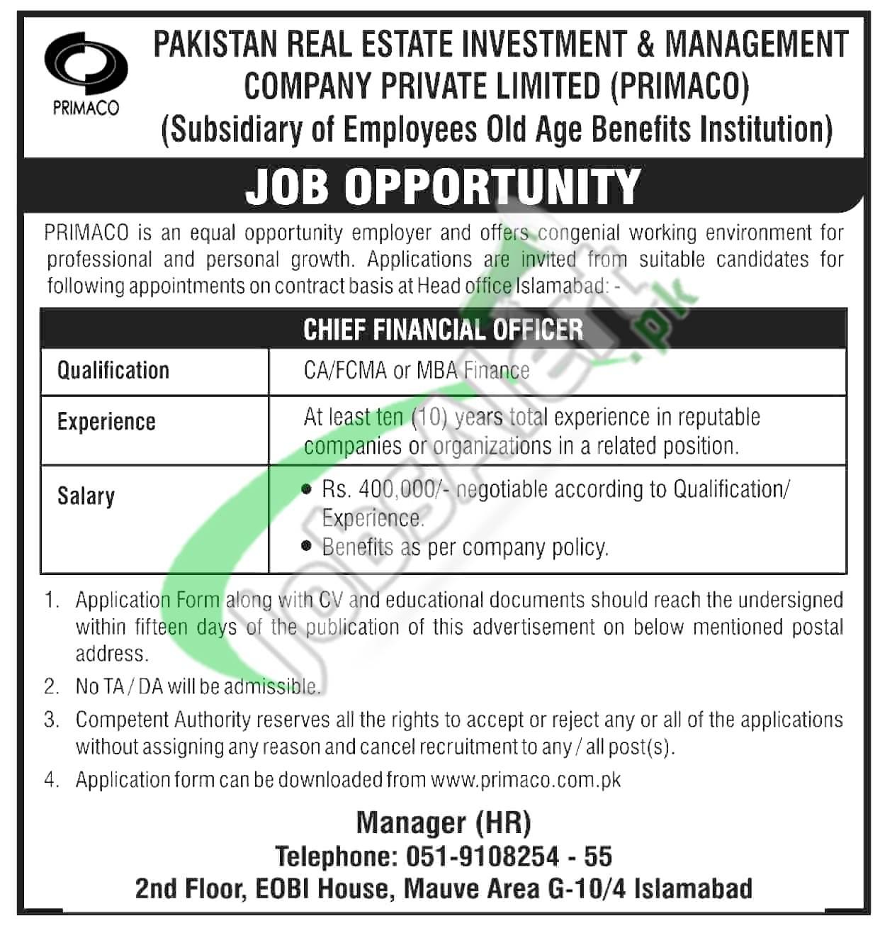 Pakistan Real Estate Management Company Jobs
