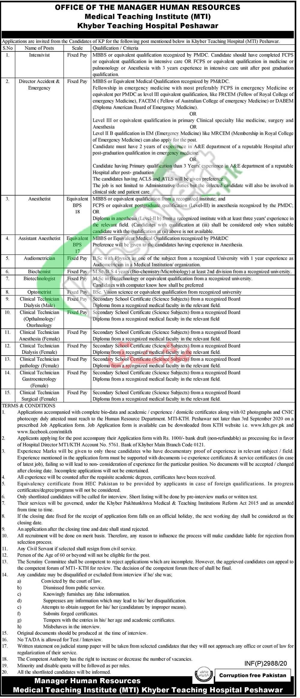 KTH Peshawar Jobs