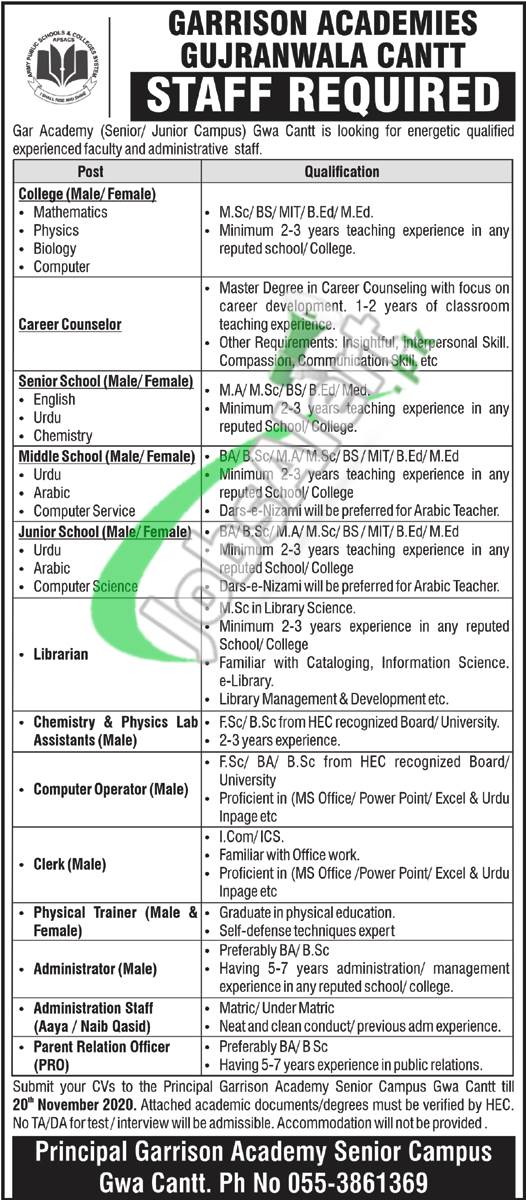 Garrison Academy Gujranwala Cantt Jobs