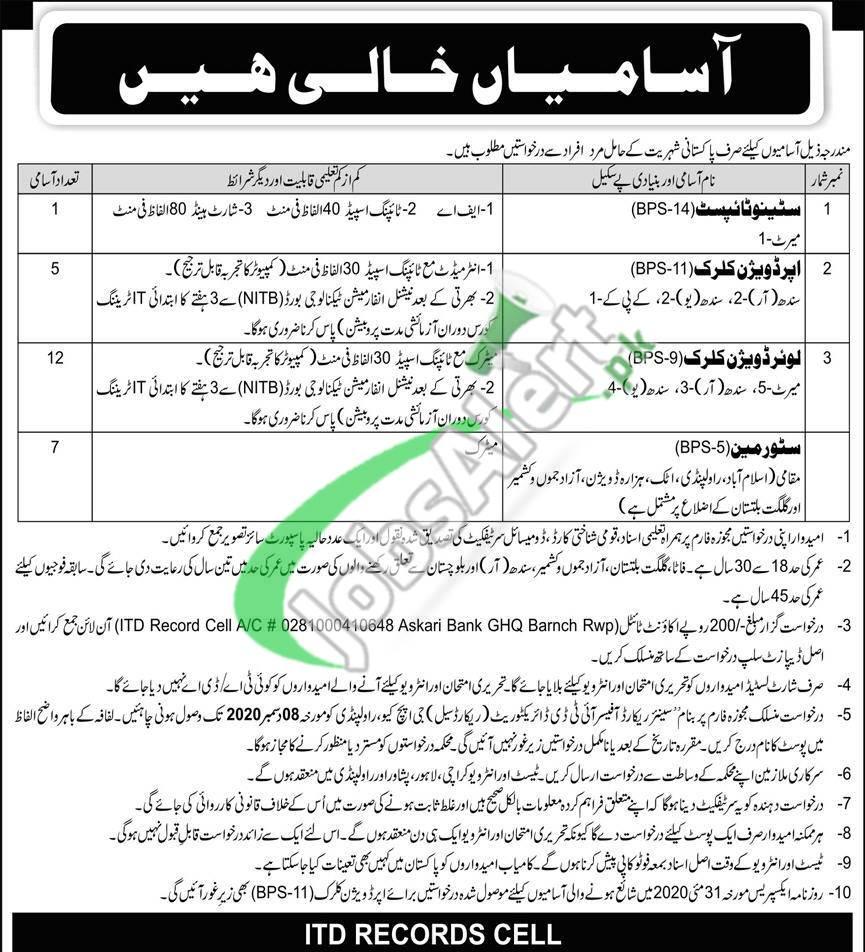 ITD Record Cell GHQ Rawalpindi Jobs 2020 Application Form Download