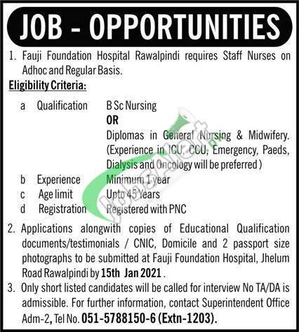 Fauji Foundation Hospital Rawalpindi Jobs