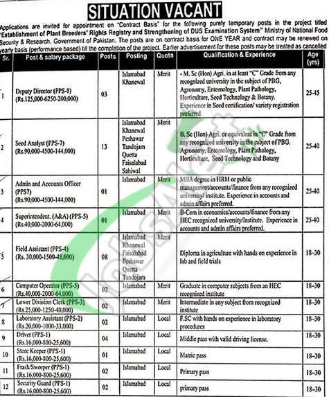 Federal Seed Certification and Registration Department Jobs