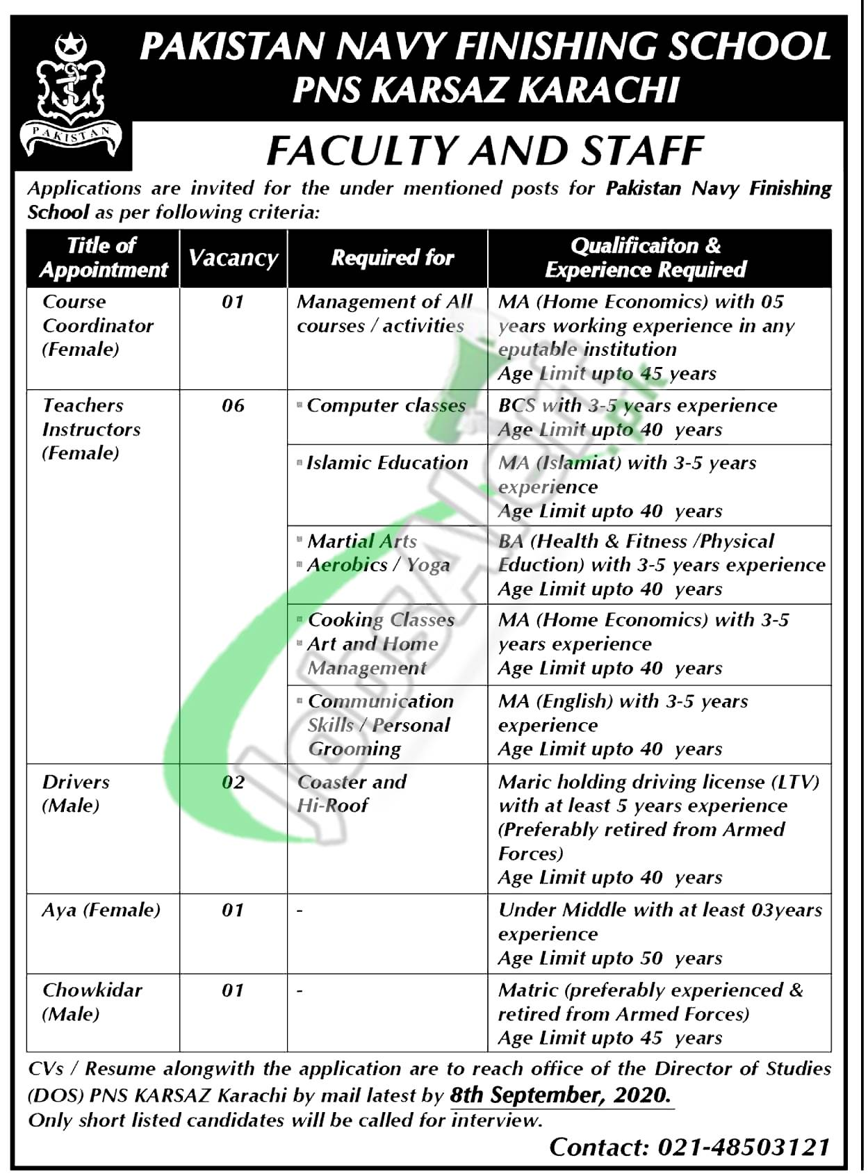 Pakistan Navy Finishing School Jobs